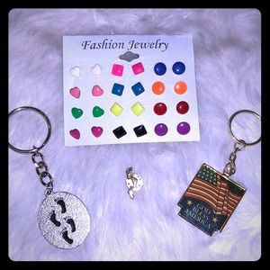 'Footsteps' & Flag Keychains, Pin & Fashion Jewels